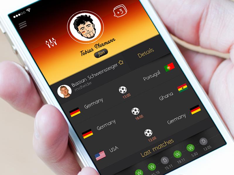 Концепт iOS-приложения для Чемпионата мира по футболу 2014
